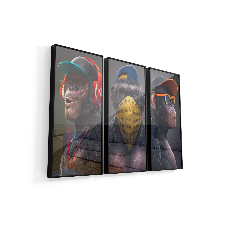Quadro Gangue dos Macacos 3 peças vidro